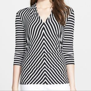Vince Camuto Striped Side Ruched Blouse